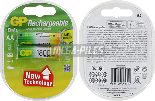 PILES RECHARGEABLES NiMH AA HR6 1.2V 1800mAh x2
