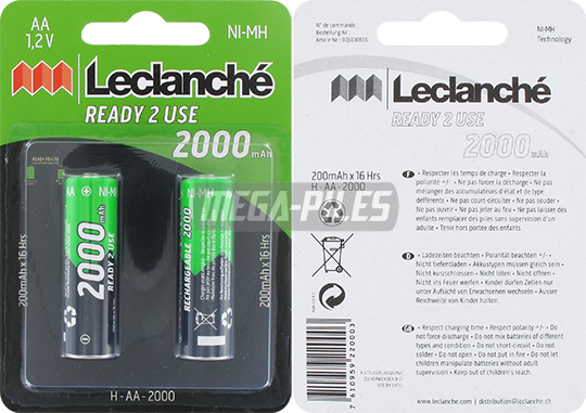 PILES RECHARGEABLES NiMH AA HR6 1.2V 2000mAh x2 LECLANCHE