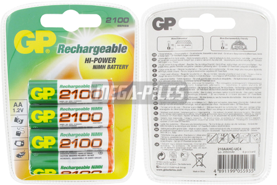 PILES RECHARGEABLES NiMH AA HR6 1.2V 2100mAh x4