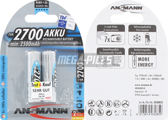 PILES RECHARGEABLES NiMH AA LR6 1.2V 2500mAh x2