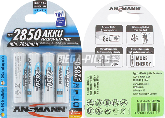 PILES RECHARGEABLES NiMH AA LR6 1.2V 2650mAh x4