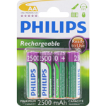 PILES RECHARGEABLES NiMH AA HR6 READY TO USE 1.2V 2500mAh x4 PHILIPS