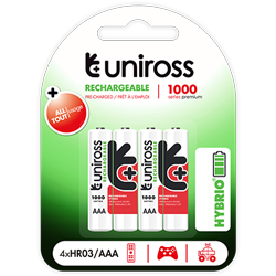 PILES RECHARGEABLES NiMH AAA HR03 1.2V 900mAh x4 UNIROSS