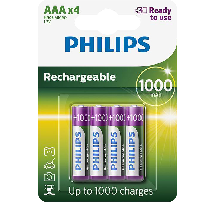 PILES RECHARGEABLES NiMH AAA HR03 READY TO USE 1.2V 1000mAh x4
