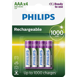 PILES RECHARGEABLES NiMH AAA HR03 READY TO USE 1.2V 1000mAh x4 PHILIPS