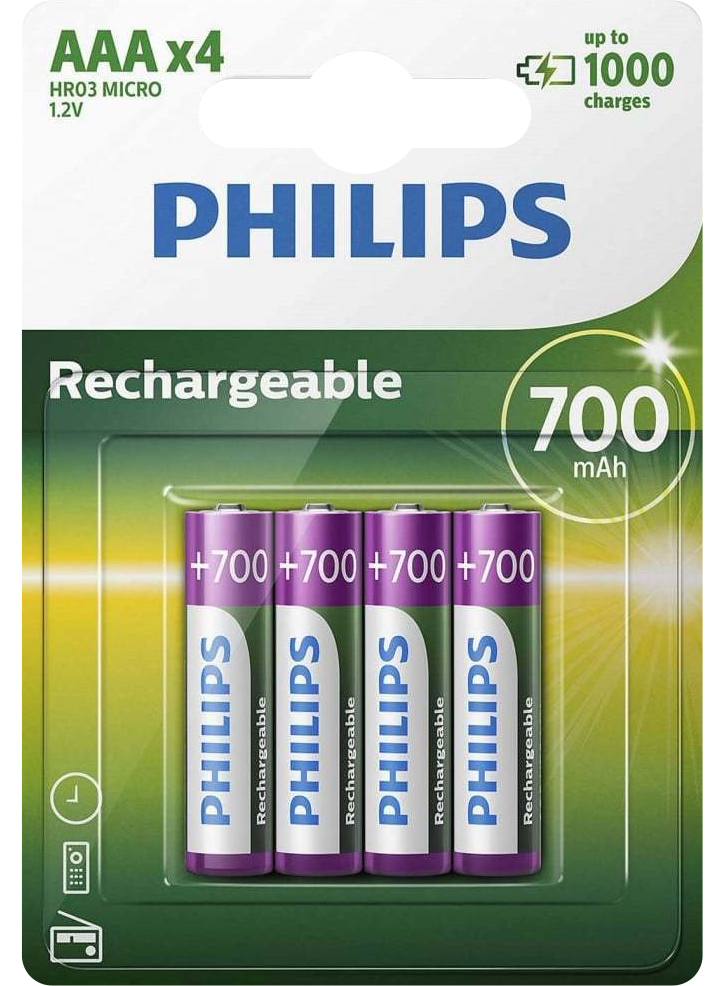 PILES RECHARGEABLES NiMH AAA HR03 READY TO USE 1.2V 700mAh x4