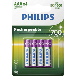 PILES RECHARGEABLES NiMH AAA HR03 READY TO USE 1.2V 950mAh BL4 PHILIPS