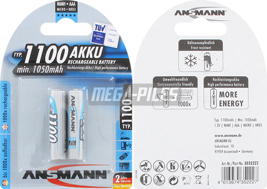 PILES RECHARGEABLES NiMH AAA HR03 1.2V 1100mAh x2