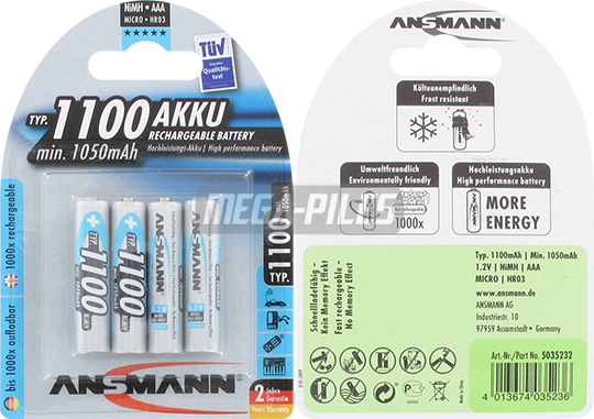 PILES RECHARGEABLES NiMH AAA HR03 1.2V 1050mAh x4