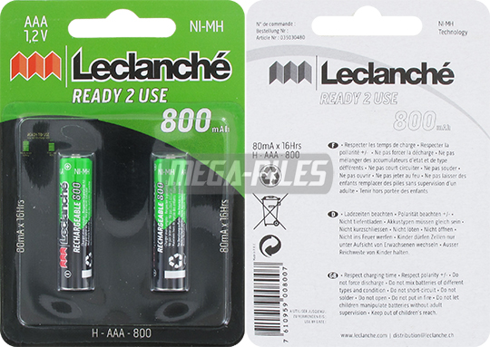 PILES RECHARGEABLES NiMH AAA LR03 1.2V 800mAh x2