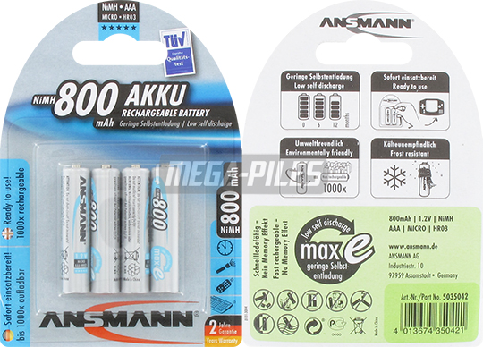 PILES RECHARGEABLES NiMH AAA LR03 1.2V 800mAh x4
