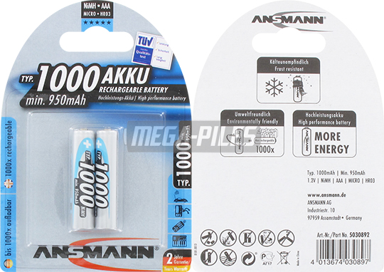 PILES RECHARGEABLES NiMH AAA LR03 1.2V 1000mAh x2