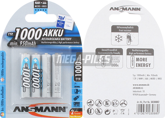 PILES RECHARGEABLES NiMH AAA LR03 1.2V 1000mAh x4