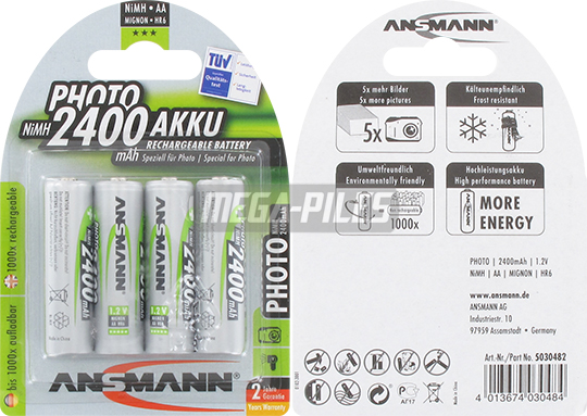 PILES RECHARGEABLES NiMH PHOTO AA HR6 1.2V 2400mAh x4