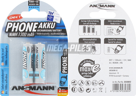 PILES RECHARGEABLES PRECHARGEES DECT NiMH AA LR6 1.2V 1300mAh x2