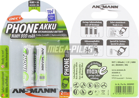 PILES RECHARGEABLES PRECHARGEES DECT NiMH AA LR6 1.2V 800mAh x2