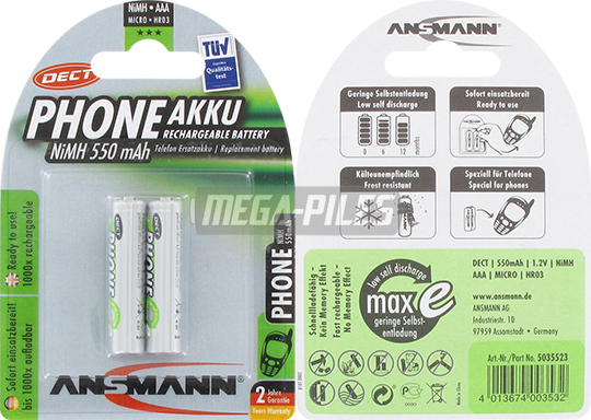 PILES RECHARGEABLES PRECHARGEES DECT NiMH AAA LR03 1.2V 550mAh x2
