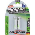PILES RECHARGEABLES PRECHARGEES DECT NiMH AAA HR03 1.2V 550mAh x2 ANSMANN