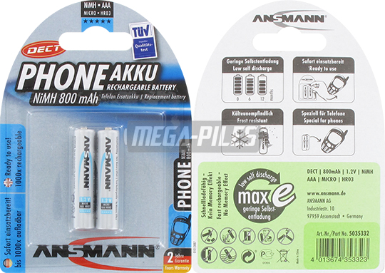 PILES RECHARGEABLES PRECHARGEES DECT NiMH AAA LR03 1.2V 800mAh x2