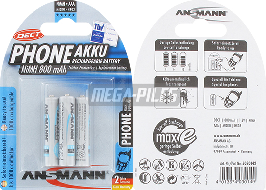 PILES RECHARGEABLES PRECHARGEES DECT NiMH AAA LR03 1.2V 800mAh x3