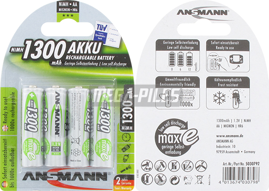 PILES RECHARGEABLES PRECHARGEES NiMH AA HR6 1.2V 1300mAh x4