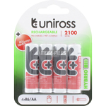 PILES RECHARGEABLES PRECHARGEES NiMH AA LR6 1.2V 2050mAh x4 UNIROSS