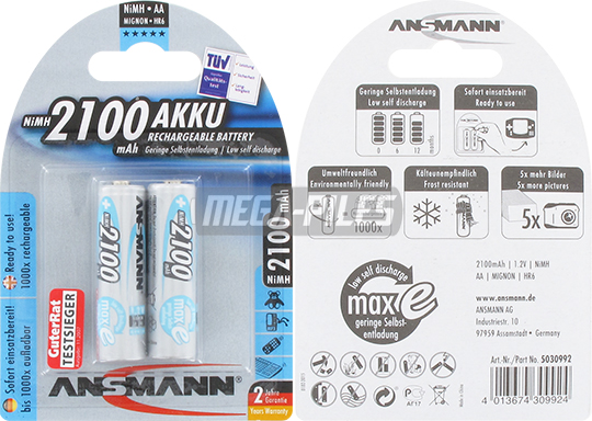 PILES RECHARGEABLES PRECHARGEES NiMH AA HR6 1.2V 2100mAh x2