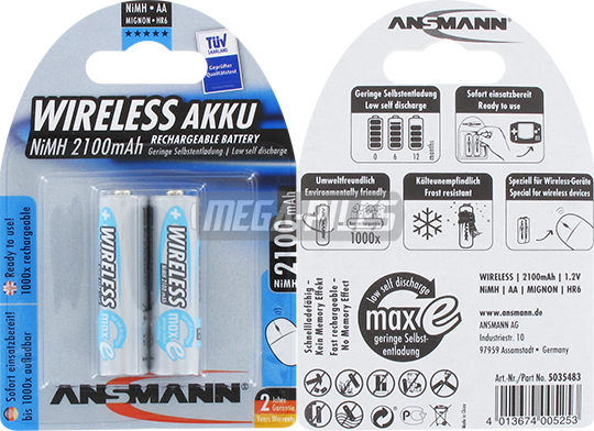 PILES RECHARGEABLES PRECHARGEES NiMH AA LR6 1.2V 2100mAh x2