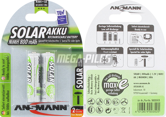 PILES RECHARGEABLES PRECHARGEES NiMH AA LR6 1.2V 800mAh x2