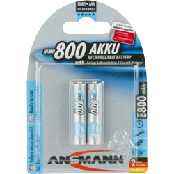 PILES RECHARGEABLES PRECHARGEES NiMH AAA HR03 1.2V 800mAh x2 ANSMANN