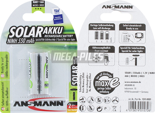 PILES RECHARGEABLES PRECHARGEES SOLAR NiMH AAA LR03 1.2V 550mAh x2