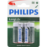 PILES SALINES R14 C CARBONE ZINC 1.50V LONGLIFE x2 PHILIPS