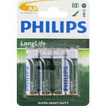 PILES SALINES R6 AA CARBONE ZINC LONGLIFE 1.50V x4 PHILIPS