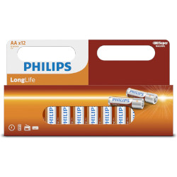 PILES SALINES R6 AA CARBONE ZINC LONGLIFE 1.50V BL12 PHILIPS