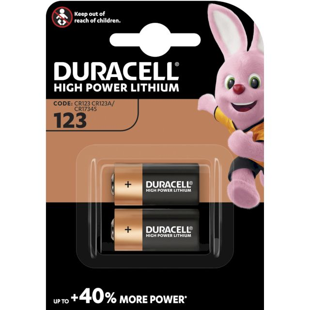 PILE CR123A LITHIUM PHOTO 3V 1400mAh BL2 DURACELL