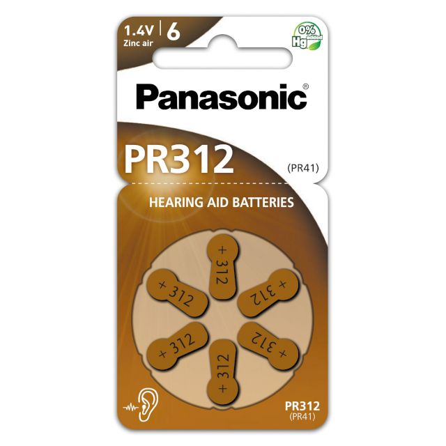 PILES 312 AUDITIVES PR41 1.4V 170mAh BL6 PANASONIC