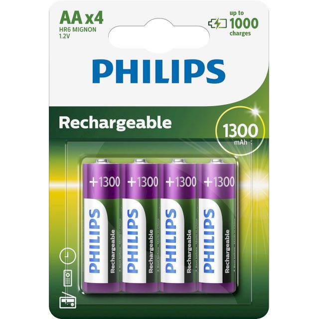 PILES RECHARGEABLES NiMH AA HR6 READY TO USE 1.2V 1300mAh BL4 PHILIPS
