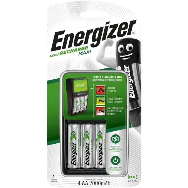 CHARGEUR 4 PILES 8h + 4 AA NiMH 2000mhA ENERGIZER