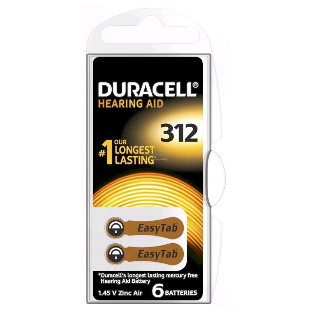 PILES 312 AUDITIVES PR41 1.45V 175mAh BL6 DURACELL