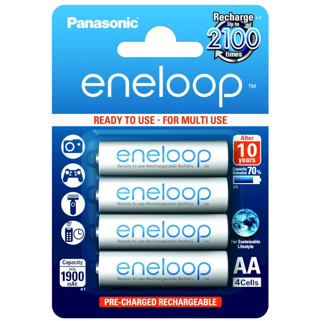 PILES RECHARGEABLES Eneloop NiMH AA HR6 1.2V 1900mAh BL4