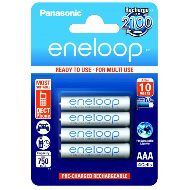 PILES RECHARGEABLES Eneloop NiMH AAA HR03 1.2V 750mAh BL4