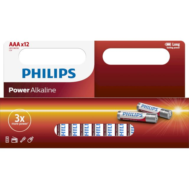 PILES LR03 ALCALINES AAA POWER 1.50V BL12 PHILIPS