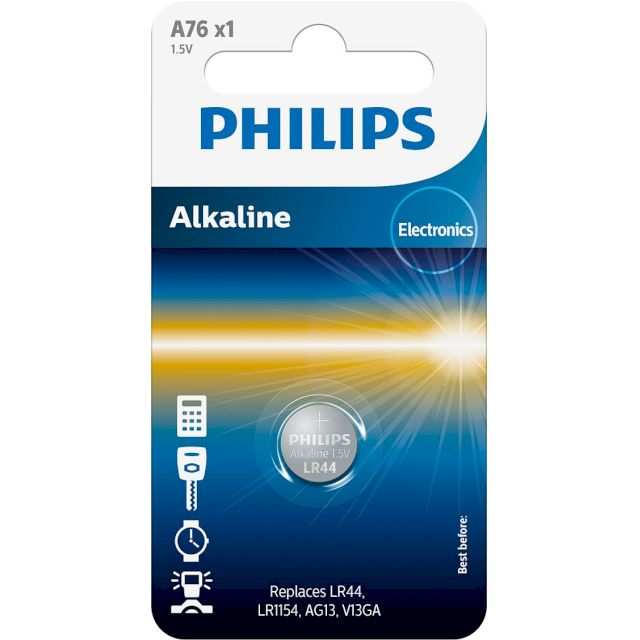 PILES LR44 ALCALINES A76 1.5V BL1 PHILIPS