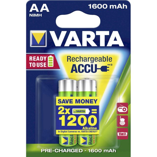 PILES AA RECHARGEABLES HR6 NiMH 1.2V 1600mAh Ready to Use x2 VARTA